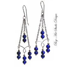 Bog-Art Studio - Lápis Lazuli gyöngyök kacskaringós láncon