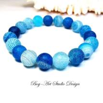 Bog-Art Studio - Achát karkötő 10 mm-es kék gyöngyökből