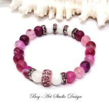 Bog-Art Studio - Achát karkötő ciklámen gyöngyökből rózsaszín köztessekl - 8 mm