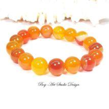 Bog-Art Studio - Achát karkötő 10 mm-es gyöngyből narancssárga színben
