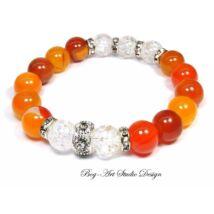 Bog-Art Studio - Achát karkötő narancs színben hegyikristály gyöngyökkel - 10 mm