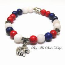 Howlit karkötő Lápis lazuli és Jade gyöngyökkel kiegészítve elefántokkal díszítve.