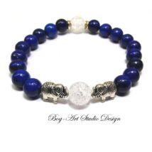 Lápis Lazuli karkötő roppantott hegyikristály gyöngyökkel és elefántokkal