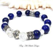 Lápis Lazuli karkötő hegyikristály gyöngyökkel és kristály medállal