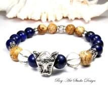 Lápis lazuli karkötő képjáspis gyöngyökkel és tigris fejjel