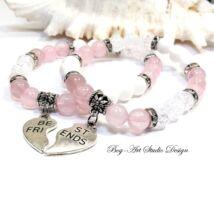 Rózsakvarc ásvány karkötők - Best Frends barátság karkötő