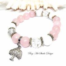 Rózsakvarc karkötő Jáde és Hegyikristály gyöngyökkel életfa medállal