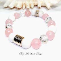Bog-Art Studio - Rózsakvarc szeretet és pénz vonzó karkötő - 10 mm