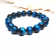 Tigrisszem karkötő 10 mm-es gyöngyökből kék színben