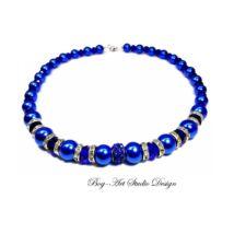 Gyöngy nyaklánc - kék gyöngyök kristályokkal