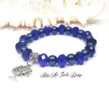 Bog-Art Studio - Karkötő kék kristályokból és gyöngyökből életfa medállal