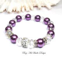 Bog-Art Studio - Gyöngy karkötő - Lila gyöngyök kristályokkal