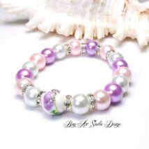 Bog-Art Studio - Gyöngy karkötő - pasztell színek lilával és rózsaszínnel - 10 mm