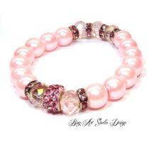 Bog-Art Studio - Gyöngy karkötő rózsaszínben apróköves köztessel