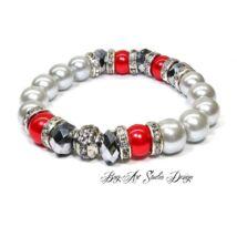 Bog-Art Studio - Gyöngy Karkötő ezüst gyöngyökből piros és apróköves köztesekkel - 10 mm