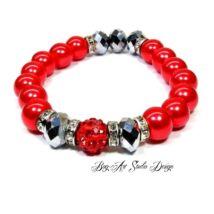 Bog-Art Studio - Piros gyöngy karkötő ezüst köztesekkel és porcelán medállal - 10 mm