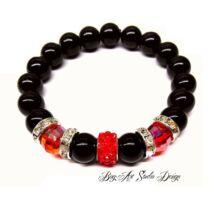Bog-Art Studio - Fekete gyöngy karkötő 10 mm-es gyöngyökből piros köztessel