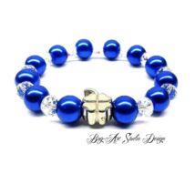 Bog-Art Studio - Kék gyöngy karkötő kristályokkal lóhere medállal - 10 mm