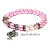 Bog-Art Studio - Rózsaszín gyöngykarkötő kristályokkal és életfával - 8 mm
