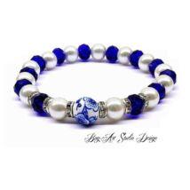 Bog-Art Studio - Fehér gyöngy karkötő kék kristályokkal porcelán köztessel - 8 mm