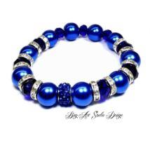 Bog-Art Studio - Kék gyöngy karkötő kristályokkal - 10 mm