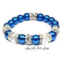 Bog-Art Studio - Kék gyöngy karkötő kristály köztesekkel - 10 mm
