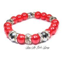 Bog-Art Studio - Piros gyöngy karkötő ezüst kristályokkal - 10 mm