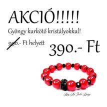 Bog-Art Studio - Piros gyöngy karkötő fekete kristályokkal - 10 mm
