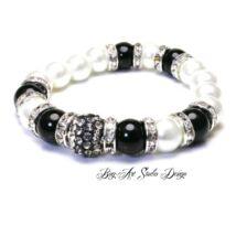Bog-Art Studio - Fehér gyöngy karkötő feketével és kristályokkal - 10 mm