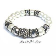 Bog-Art Studio - Fehér gyöngy karkötő ezüsttel - 10 mm