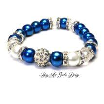 Bog-Art Studio - Kék gyöngykarkötő fehérrel és kristályokkal - 10 mm