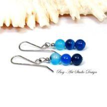 Achát fülbevaló - három szem kék gyöngy