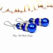 Gyöngy fülbevaló - kék gyöngyök kristályokkal