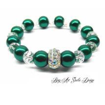 Bog-Art Studio - Gyöngy karkötő zöld gyöngyökből kristályokkal és apróköves medállal - 10 mm