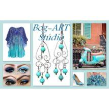 Gyöngy karkötő - Kék kristály gyöngyök életfa medállal