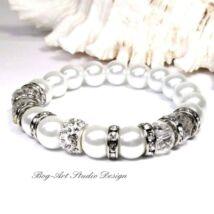 Gyöngy karkötő - 10 mm-es fehér gyöngyök kristályokkal