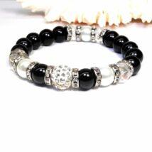 Gyöngy karkötő fekete színben fehérrel és kristállyal