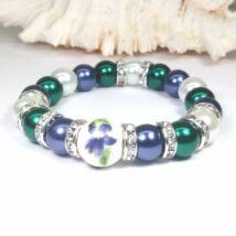 Bog-Art Stúdió - Gyöngy karkötő - Smaragd és acélkék gyöngyök