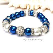 Bog-Art Stúdió - Tekla gyöngy karkötő - Kék és fehér kristályokkal