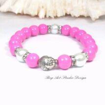 Gyöngy karkötő - pink gyöngyök Buddhával