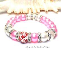 Gyöngy Karkötő sötét rózsaszín gyöngyökből kristály és porcelán köztessel