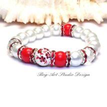 Gyöngy karkötő - fehér pirossal és kristályokkal