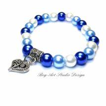 Gyöngy karkötő - kék árnyalatai szív medállal