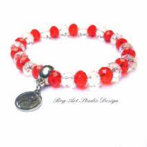Gyöngy karkötő - piros és áttetsző kristályokból jin-jang medállal