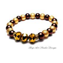 Gyöngy karkötő - Arany-barna 8 mm-es gyöngyökből