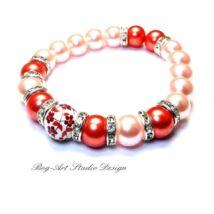 Gyöngy karkötő - 10 mm-es barack színű gyöngyök rozsdabarnával porcelán medállal