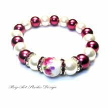 Gyöngy karkötő - 10 mm-es gyöngyök rozsdabarna és fehér színekben porcelán medállal