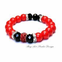 Gyöngy karkötő - 10 mm-es piros gyöngyök fekete kristállyal
