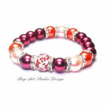 Gyöngy karkötő - 10 mm-es rozsdabarna gyöngyök korall és rózsaszín gyöngyökkel