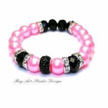 Gyöngy karkötő - rózsaszín sötétben feketével kristályokkal